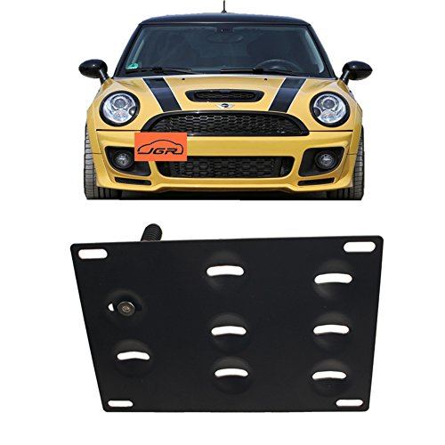 JGR No drill Tow Eye Front Bumper Tow Hook License Plate Mount Bracket Holder Adapter Relocation Kit For MINI Cooper R50 R52 R53 R55 R56 R57 R58 R59 (License Plate Relocation Bracket)