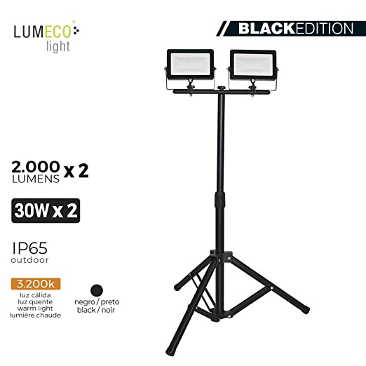 PROYECTOR LED CON TRIPODE 2X 30W 3.200K 2X 2000 LUMENS