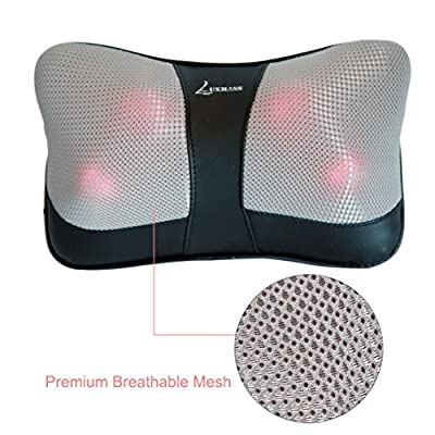 Luxmass Shiatsu Pillow Massager with AC Adapter and Car Adapter