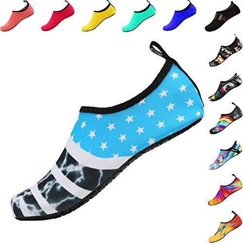 Hot Sands - SOVIKER Mens Womens Outdoor Water Shoes Barefoot Quick-Dry Slip-on Aqua for Beach Swim Surf Yoga Exercise FlagBlue 38/39