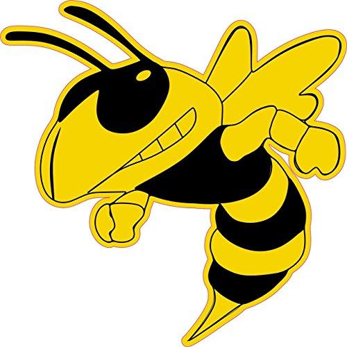 StickerTalk 6in x 6in Left Facing Yellow Black Hornet Bee Mascot Bumper Sticker Vinyl Window Decal