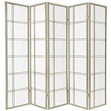 Oriental Furniture 6-Feet Double Cross Japanese Shoji Folding Privacy Screen Room Divider, 5 Panel Grey