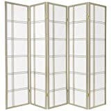 5 panel divider - Oriental Furniture 6 ft. Tall Double Cross Shoji Screen - Special Edition - Grey - 5 Panels