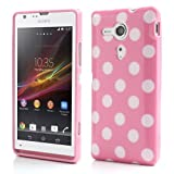 JUJEO Polka Dots TPU Cover for Sony Xperia SP C5303 C5302 C5306 M35h - White Dots - Non - Retail Packaging - Pink