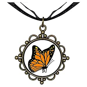 Chicforest Bronze Retro Style Beautiful Lovely Butterfly Round Flower Pendant