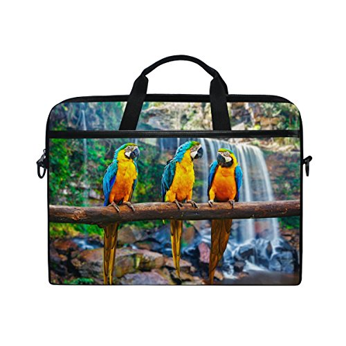 - Parrot Pattern Print 14 Inch Laptop Shoulder Messenger Bag Case Sleeve Briefcase with Handle for Women Men