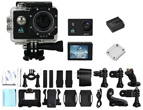 WittyGadget 4K Ultra HD 16-Mp 170 degree Wifi Slowmotion Action Camera Bundle with 20 Pcs Accessory Kit by Witty Gadget, LLC