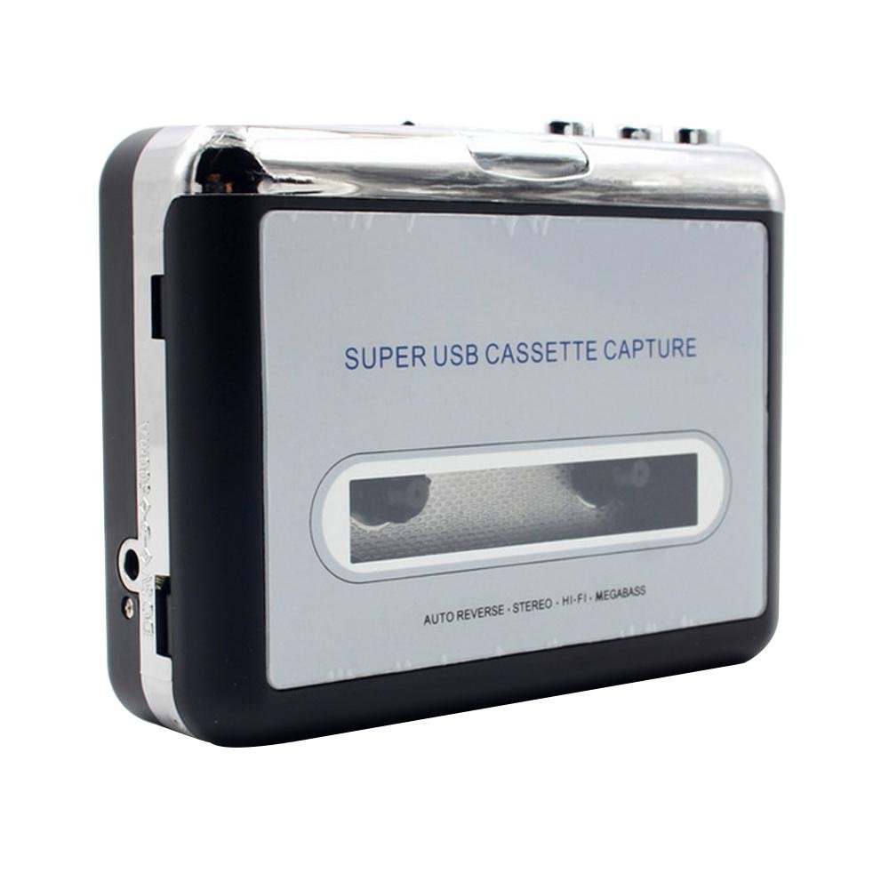 Leegoal USB Cassette Tape Converter Cassette to MP3 Audio Capture Music Player Tape to PC Portable Cassette-to-MP3 Converter with USB Cable, Headphones,Software 8025779254449