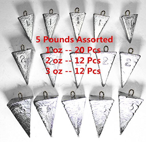 Kathy store INC Pyramid Sinker/Fishing Sinkers - Assorted Weights (5 LB) (5 LB - 1oz \ 2oz \ 3oz)