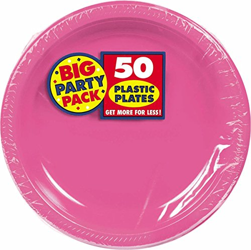 Bright Pink Plastic Luncheon Plates Big Party Pack, 50 Ct.
