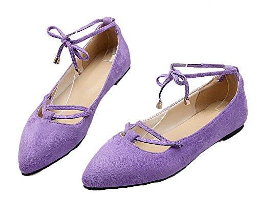 AllhqFashion Mujeres Mini Tacón Sólido Cordones Esmerilado Puntera EN Punta Zapatos de Tacón Morado