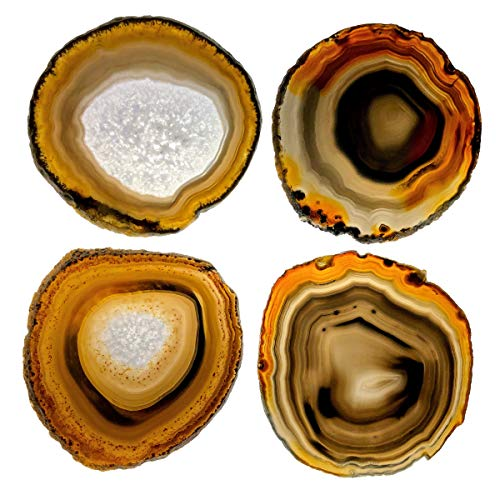 Natural Agate Coasters w/silicone bumpers, 3.5