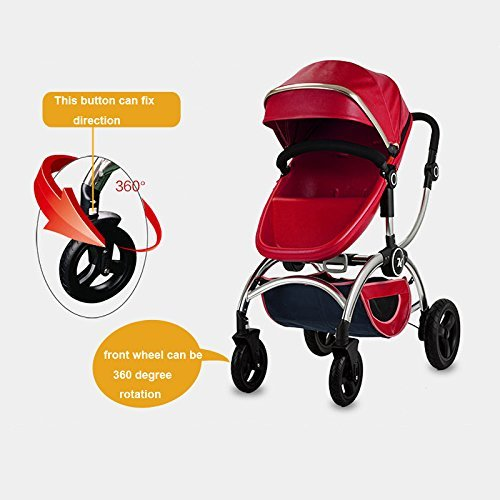 Kuudy Baby Stroller High-view Two-way Available Folding 2 in 1 Carrier Double Handle Tube, Aluminum Alloy Frame (Red)