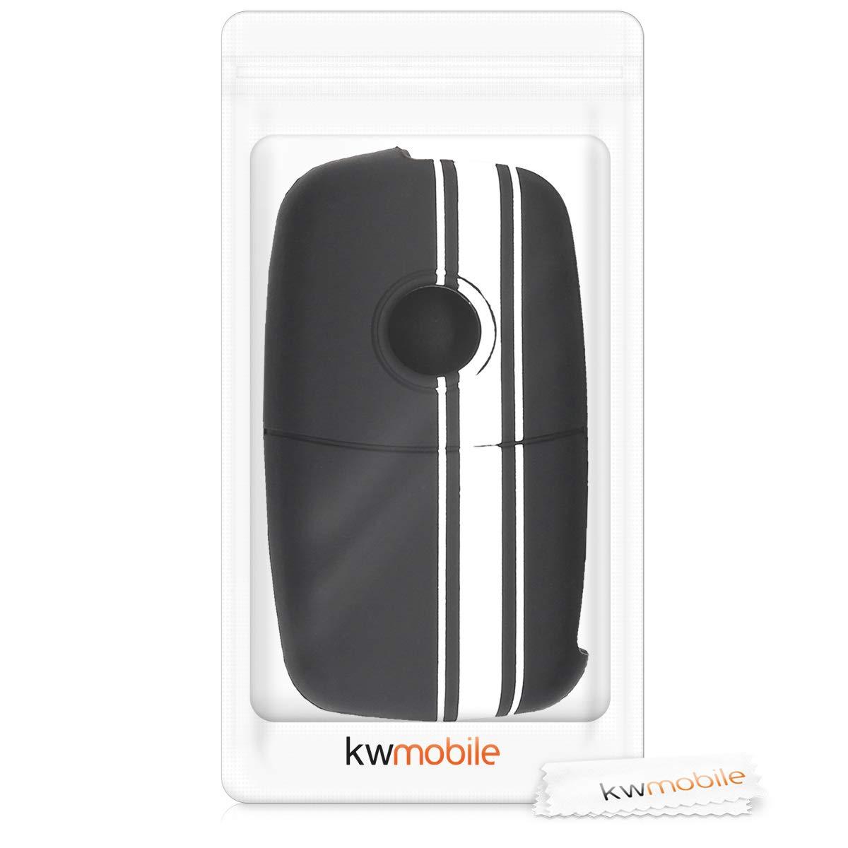 kwmobile Accessoire cl/é de Voiture pour VW Skoda Seat Coque pour Clef de Voiture VW Skoda Seat 3-Bouton en Silicone Blanc-Noir /Étui de Protection Souple