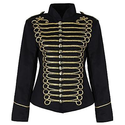 Jacket Noire et Dorée militaire Parade batteur Emo Punk pour Femmes