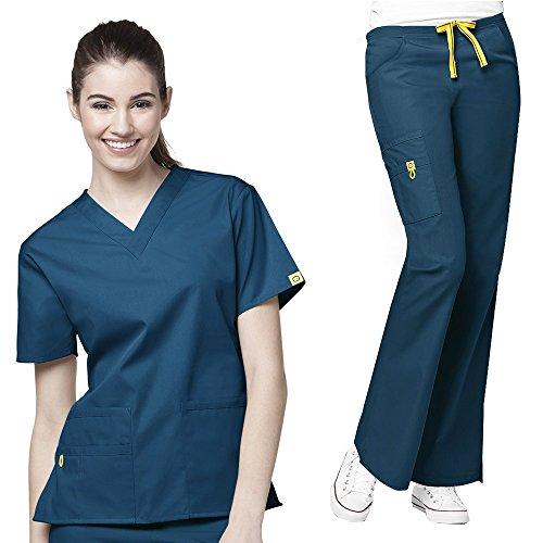 [WonderWink Origins Women's 6016 Bravo Top & 5026 Romeo Pant Medical Uniform Scrub Set + FREE GIFT (Caribbean - XXX-Large / XXXL] (Plus Size Nurse Outfit)