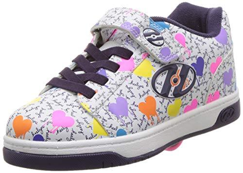 Heelys Girls' Dual Up X2 Tennis Shoe, White/Multi Heart/Drip, 2 M US Little Kid