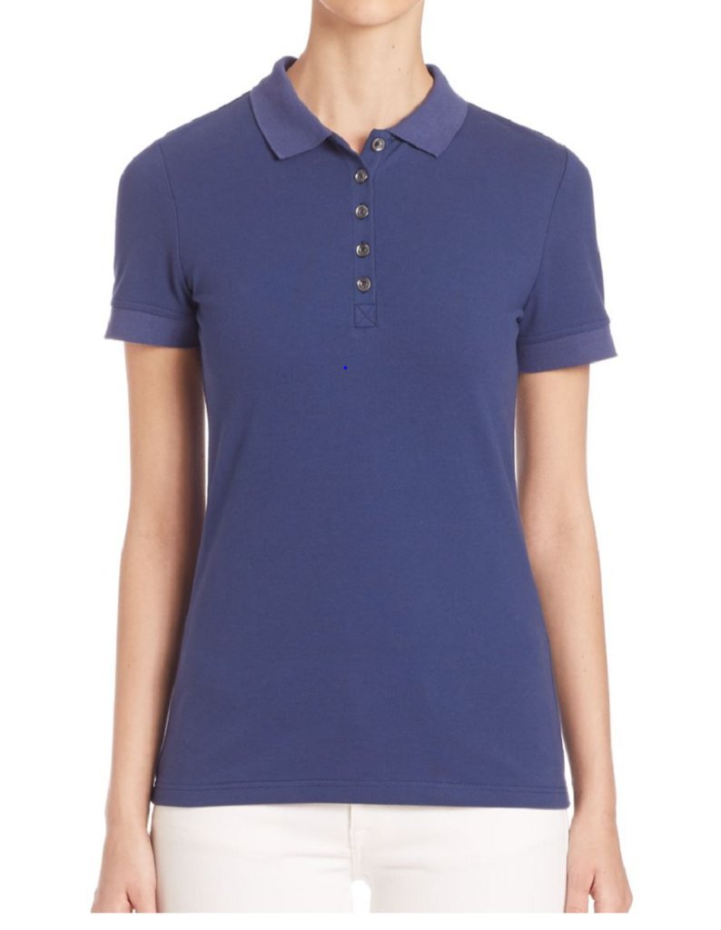 Burberry Brit Women's Check Sleeve New Core Polo Shirt in Mid Indigo by BURBERRY (Image #2)