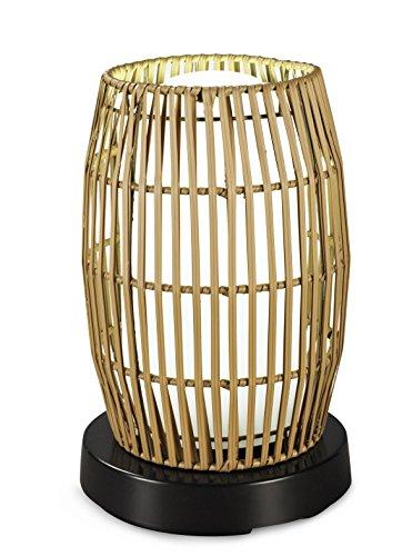 patioglo–Lámpara de mesa LED brillante luz blanca con sombra de bambú de resina