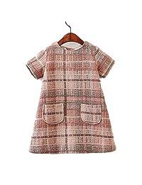 ZHWZ Girls Wool Dress Autumn Princess Dress Pocket Plaid Kids Dresses