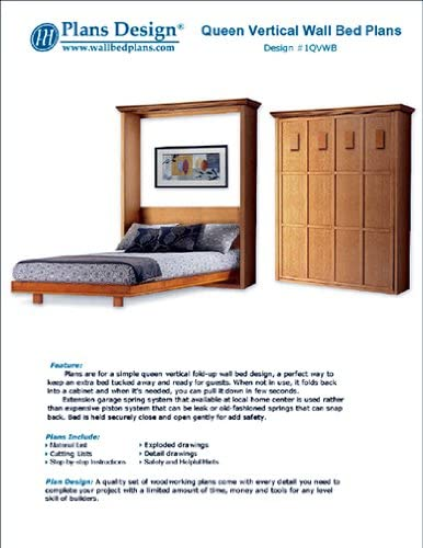 Murphy King Vertical Wall Bed Woodworking Plans With Hardware Kit List 1KVWB