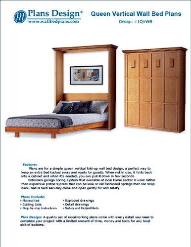 Murphy Mission Style Queen Vertical Wall Bed Woodworking Plans / Patterns, 1QVWB