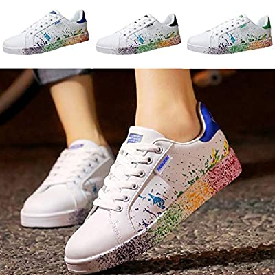 Dermanony Couple Sneakers Fashion Colorful Splashing Ink White Shoes Womens Mens Lace up Sport Board Shoes
