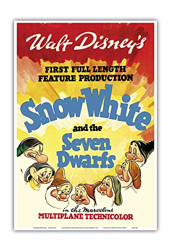 Snow Vintage White (Pacifica Island Art Walt Disney's Snow White and the Seven Dwarfs - First Full Length Feature Production - Vintage Film Movie Poster c.1937 - Master Art Print - 13in x 19in)