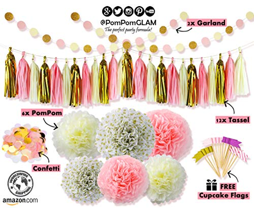 PomPomGLAM's Complete Pink & Gold Party Decorations Kit for First Birthday, Baby Girl Shower, Bachelorette, Bridal & Wedding event - Premium Quality
