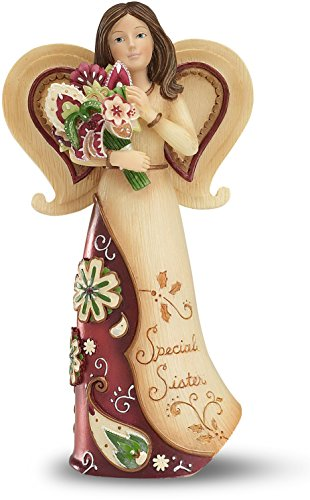 Perfect Paisley Holiday by Pavilion Angel Figurine Holding Pointsettia, Sister Sentiment, 5-1/2-Inch Tall