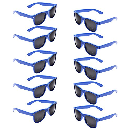 Oaonnea UV Protection Neon Colors 80's Retro Classic Party Favors Sunglasses (blue)