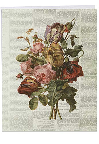 Flower Press Old Flowers' XL Thank You Card With Envelope 8.5 x 11 Inch Card with Old Fashioned Bouquet on Newspaper, Large Appreciation Greeting Card for Family, Friends J6454DTYG (Valentine Cards Nautical)