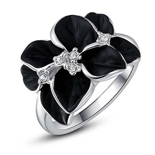 Angelady Women Girls Black Enamel Flower Austrian Crystals Cocktail Ring 18K Platinum / Rose Gold Plated