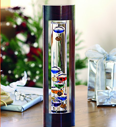 Wind & Weather Galileo Thermometer with Cherry Finish Wood Frame
