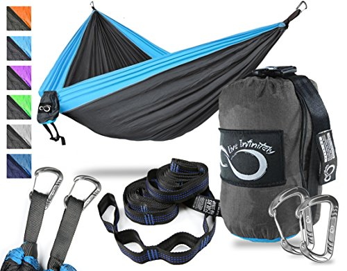 Double Camping Hammock- Best Lightweight & Portable Two Person Hammock Set –Aluminum Wiregate Carabiners, 2- 16 Loop Tree Straps & Compression Strap- Holds 500 LBS -Ideal for Travel- Blue Edges