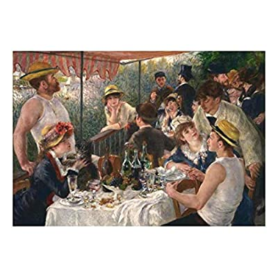 Luncheon of The Boating Party by Pierre Auguste Renoir - French Impressionist - Peel and Stick Large Wall Mural, Removable Wallpaper, Home Decor - 66x96 inches