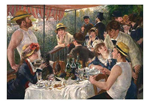 wall26 - Luncheon of The Boating Party by Pierre Auguste Renoir - French Impressionist - Peel and Stick Large Wall Mural, Removable Wallpaper, Home Decor - 66x96 inches
