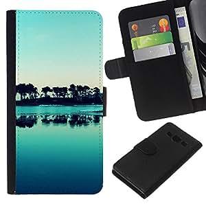 KLONGSHOP // Tirón de la caja Cartera de cuero con ranuras para tarjetas - Naturaleza Hermosa Forrest Verde 176 - Samsung Galaxy A3 //