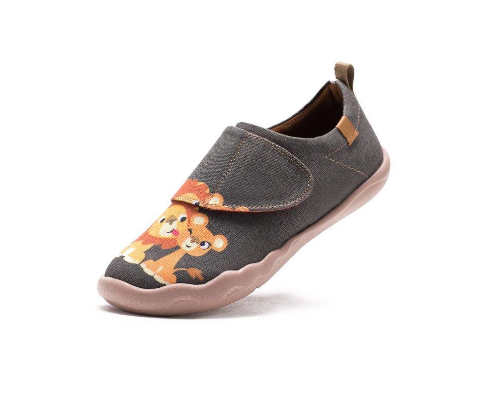 UIN Kid's Sweet Lion Travel Canvas Loafer Shoe Grey (Big Kid) (13)