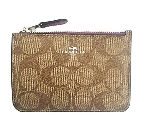 COACH Key Pouch With Gusset In Signature Coated Canvas Silver/Khaki/Mauve