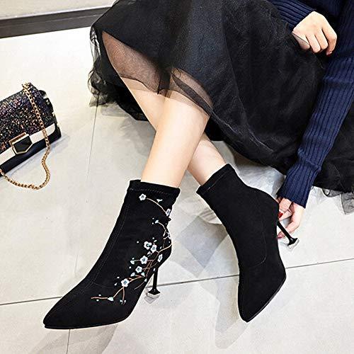 Ante Zapatos Floral Botitas Para Botas Moda De Mujer Nieve Bordado Nacional Negro Tacón Estilo Luckygirls Botín 8cm q85w1Ox8