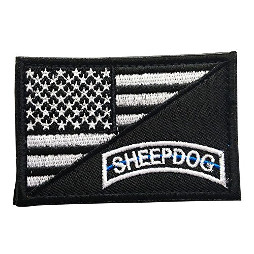 USA Sheep Dog Thin Blue Line American Flag Tactical Morale Patch with Velcro for outdoors backpacks, law enforcement uniforms, and military gear (SD, Black & White, 2″ x 3″)