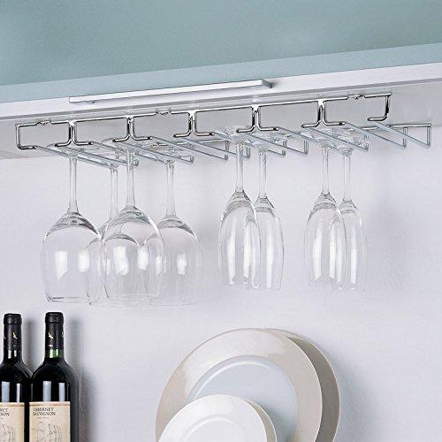 Large Wine Glass Under Cabinet Storage Rack Hanger Chrome