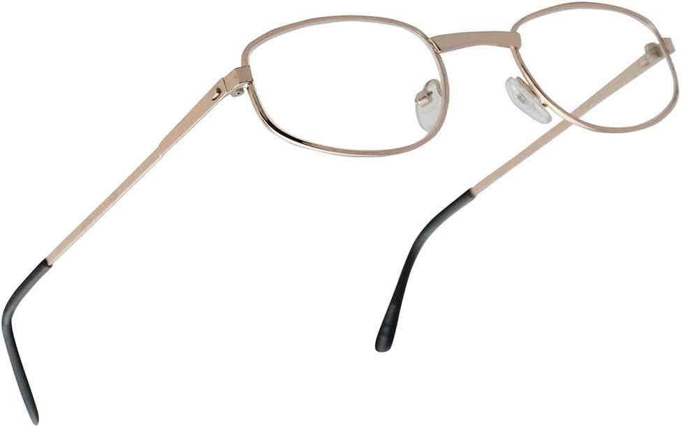 Classic Oval Nearsighted Distance Eye Glasses Myopia Negative Strengths -1.00 Thru -5.00 Optical for Men and Women (Gold Frame, -2.00)