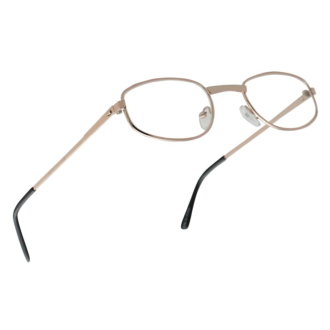 Classic Oval Nearsighted Distance Eye Glasses Myopia Negative Strengths -1.00 Thru -5.00 Optical for Men and Women (Gold Frame, -3.25) by SunglassUP Readers