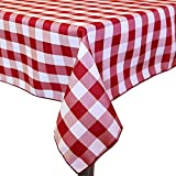 Ultimate Textile (10 Pack) 72 x 120-Inch Rectangular Polyester Gingham Checkered Tablecloth - for Picnic, Outdoor or Indoor Party use, Red and White