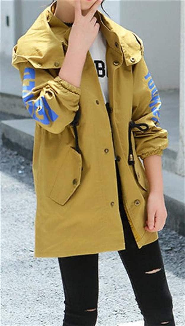 Hajotrawa Girls Single Breasted Hooded Letter Print Windbreaker Trench Coat