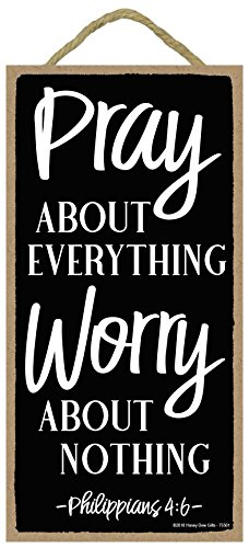 Pray About Everything Worry About Nothing - 5 x 10 inch Wall Art, Decorative Wood Sign Home Decor, Christian Decorations for Home, Christian Signs