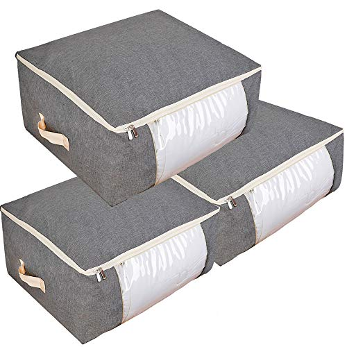 Qozary 3 Pack Under Bed Storage Bags for Comforters, Blankets, Clothes, Quilts and Towels, Better and Sturdy Organizer Bag, Large Storage Bags Great for Closets, Bedrooms(Gray) ()