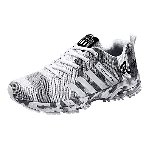 (iHPH7 Shoe Cushioning Trail Running Runner Woven Camouflage Mesh Breathable Sneaker Running Shoes Sports Shoes Casual Shoes Men (39,White))